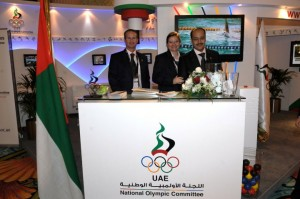 WEF staff at the UAE NOC exibit booth (SportAccord 2010).