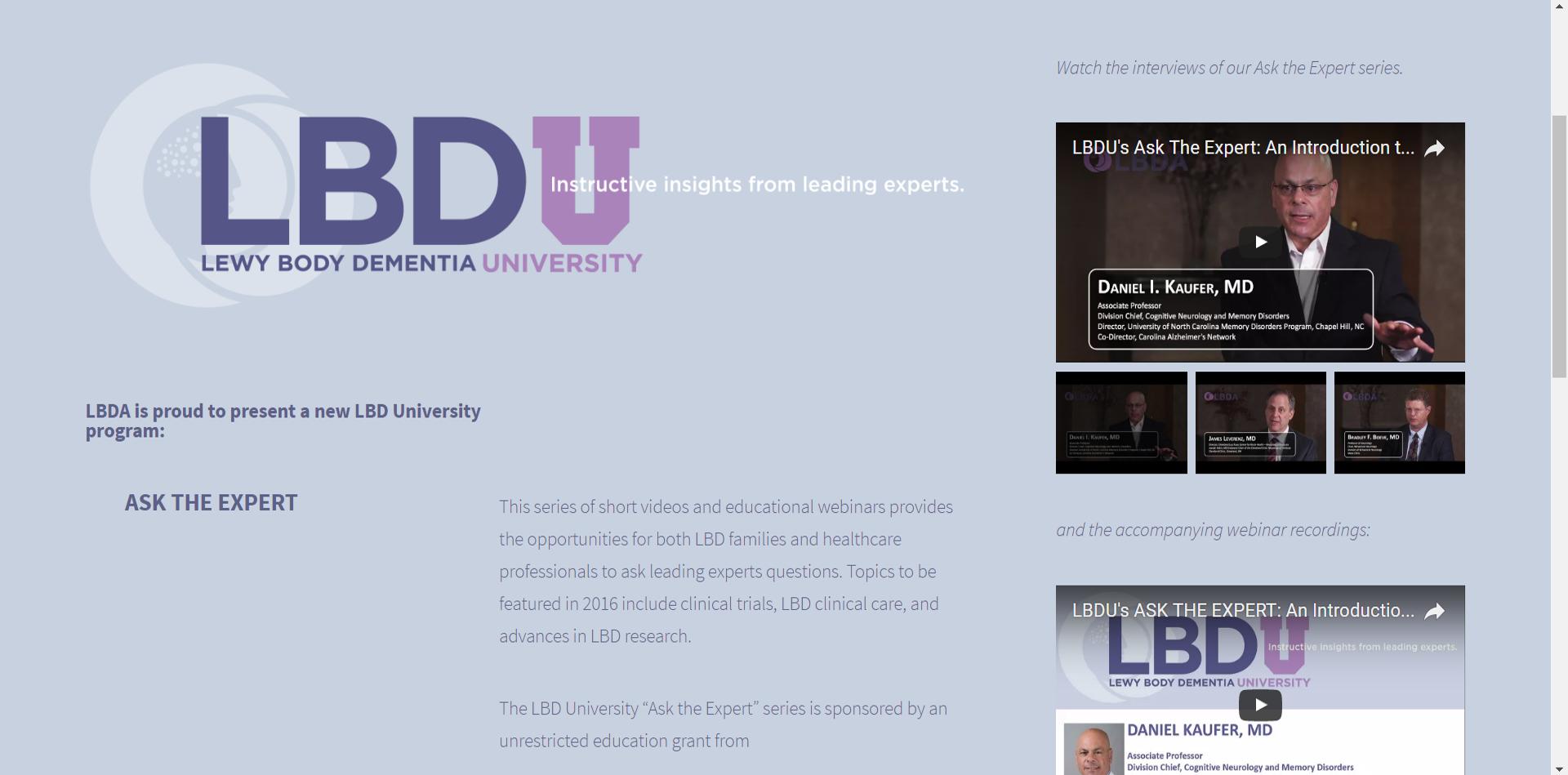 LBDA interviews and webinar series